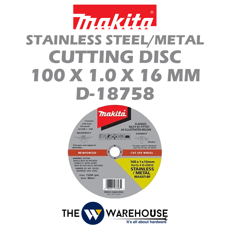 Makita Stainless Steel Cutting Disc 100 mm D-18758