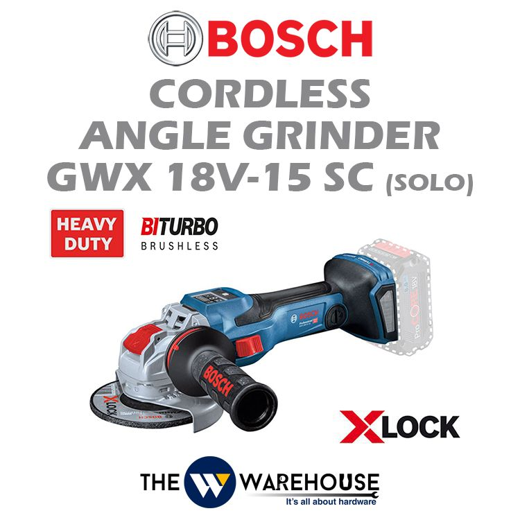Bosch Cordless Angle Grinder Biturbo with X-lock GWX 18V-15 SC (solo)
