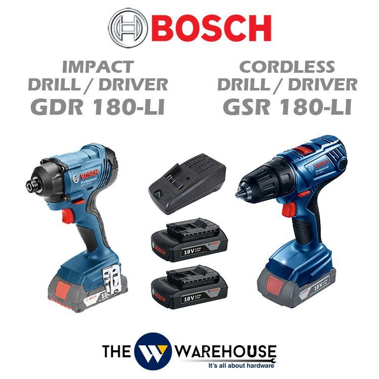 Bosch GDR 180-Li Impact Driver + GSR 180-Li Cordless Drill