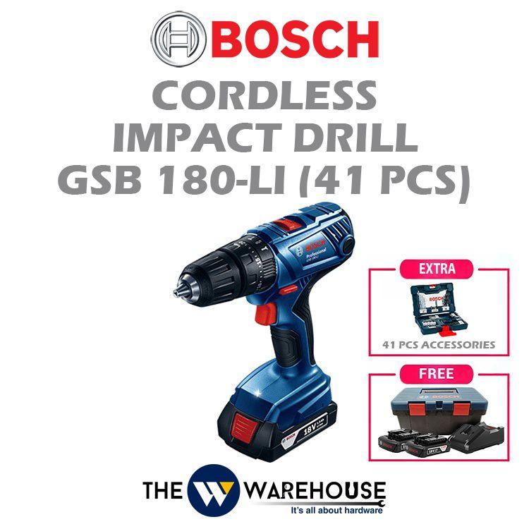 Bosch Cordless Impact Drill GSB 180-LI (41pcs Accessories)