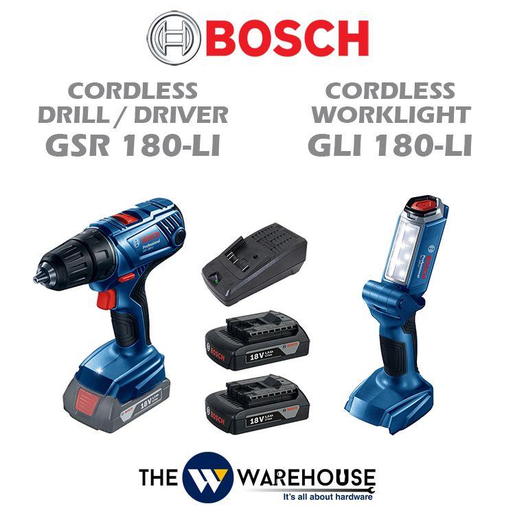 Bosch GSR 180-Li Cordless Drill + GLI 180-Li Cordless Worklight