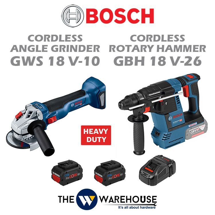 Bosch GWS 18 V-10 Cordless Angle Grinder + Bosch GBH 18 V-26 Cordless Rotary Hammer