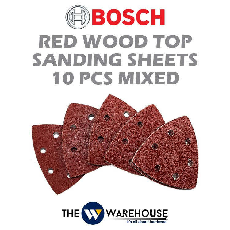 Bosch Red Wood Top Sanding Sheets 10pcs Mixed 2608607540
