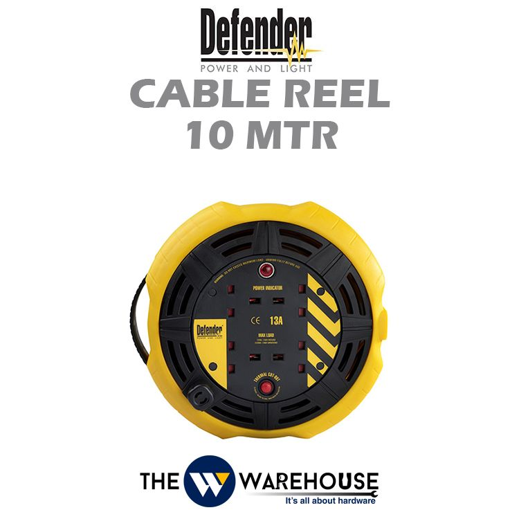 Defender Industrial Extension Wire Cable Reel 10 mtr D04-10-E8535