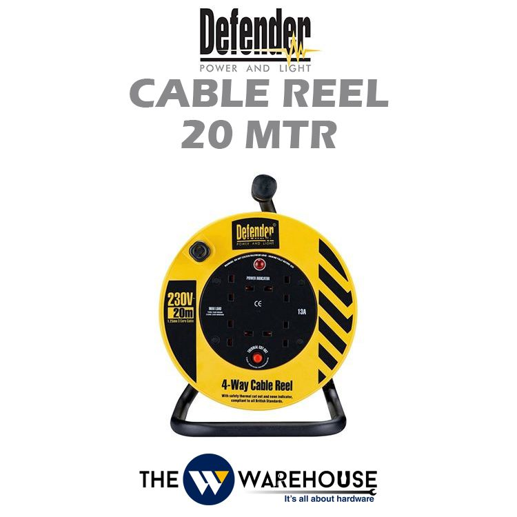 Defender Industrial Extension Wire Cable Reel 20 mtr D04-10-E86506