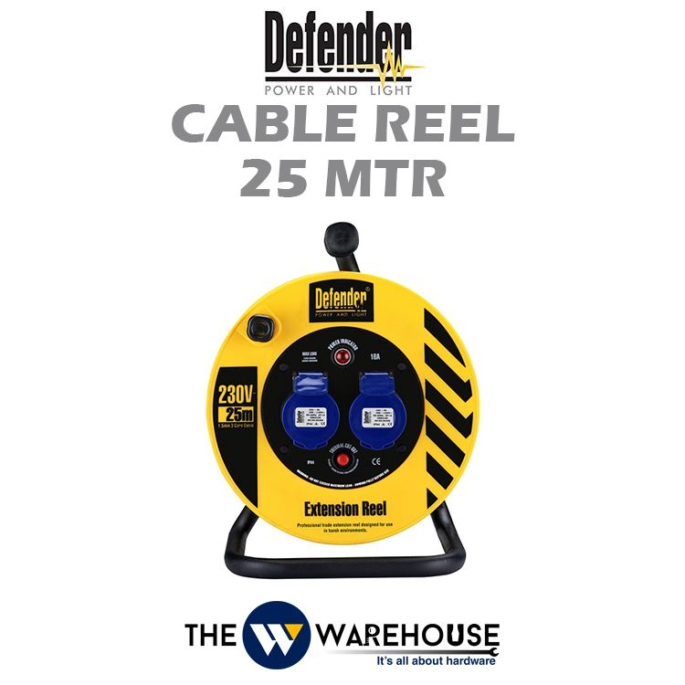 Defender Industrial Extension Wire Cable Reel 25 mtr D04-10-E86475