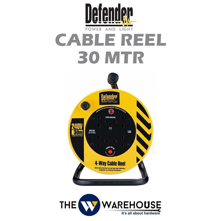 Defender Industrial Extension Wire Cable Reel 30 mtr D04-10-E86507