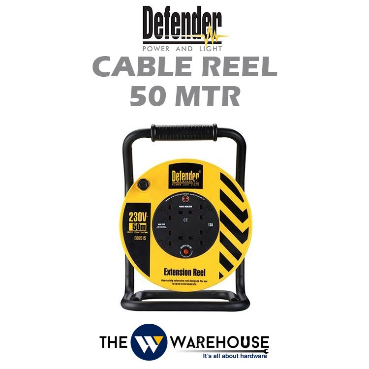 Defender Industrial Extension Wire Cable Reel 50 mtr D04-10-E86582