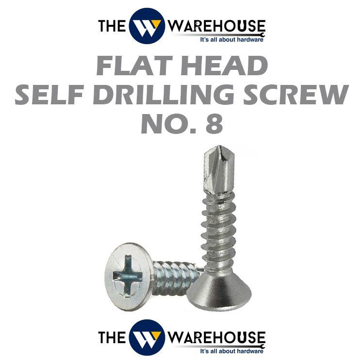 Flat Head Self Drilling Screw #8
