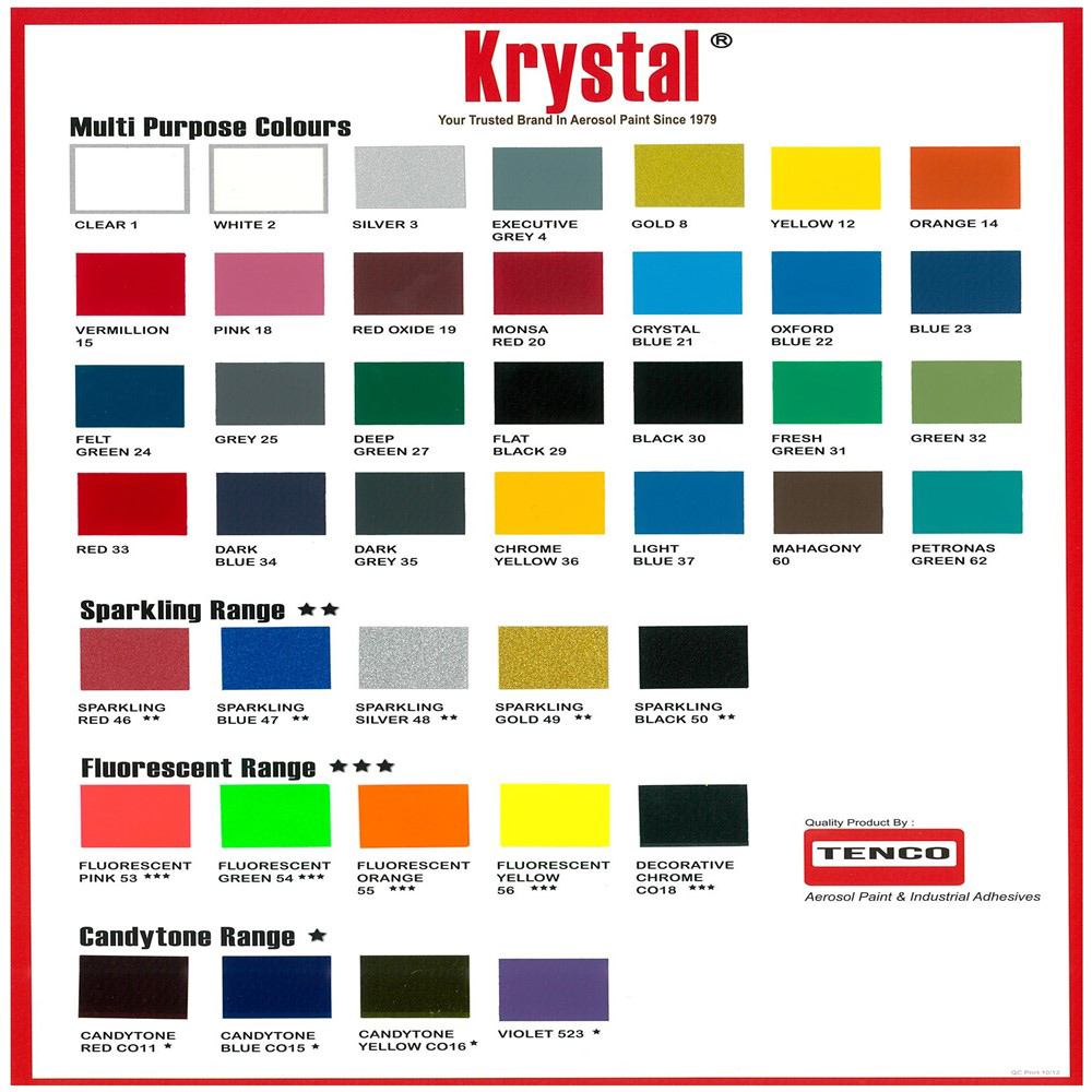 Krystal Spray Paint Color Chart