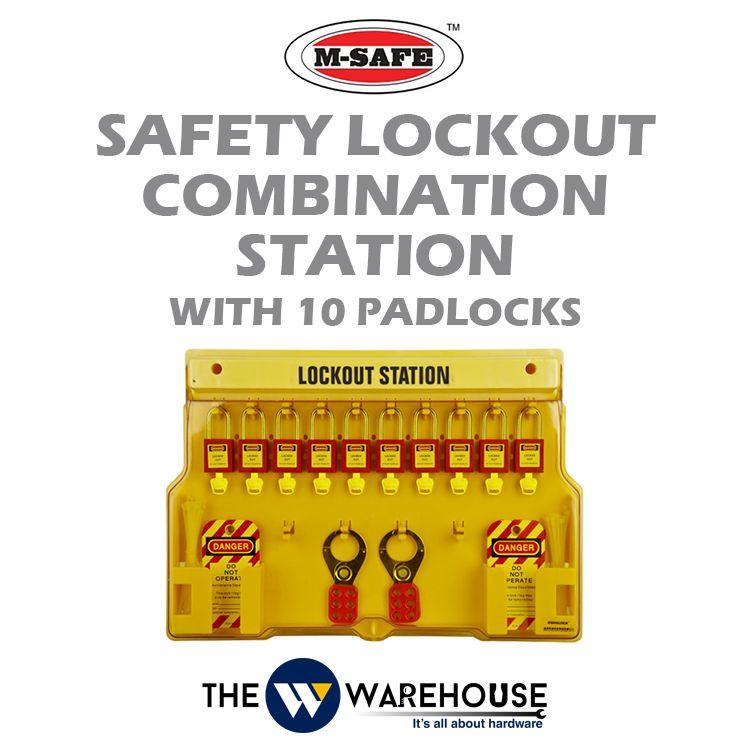 M-SAFE Safety Lockout Combination Station with 10 padlocks