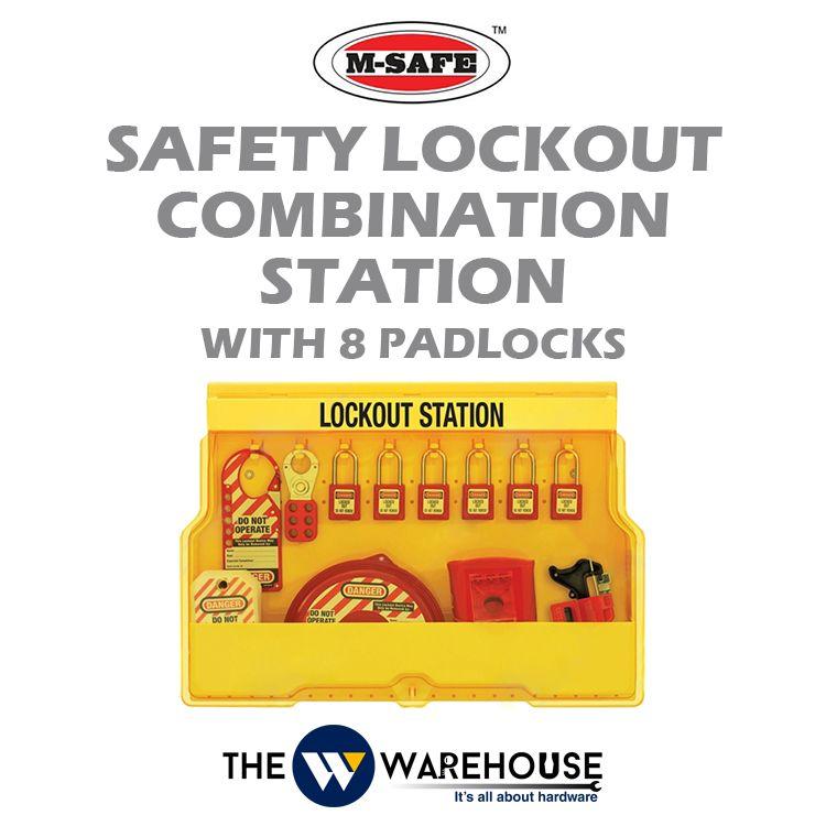 M-SAFE Safety Lockout Combination Station with 8 padlocks