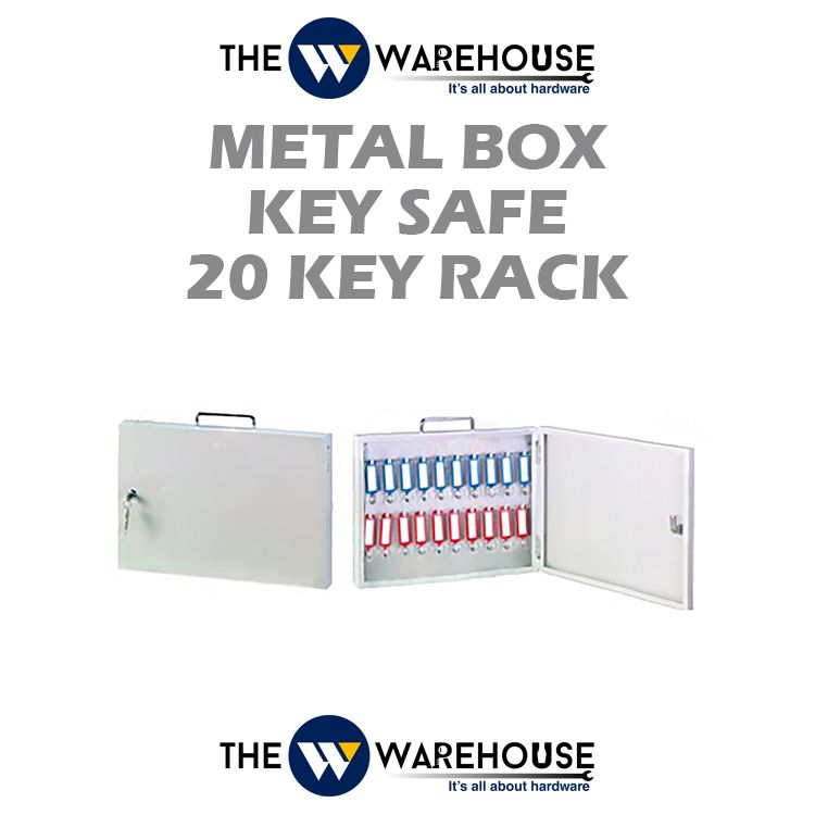 Metal Box Key Safe - 20 Key Rack