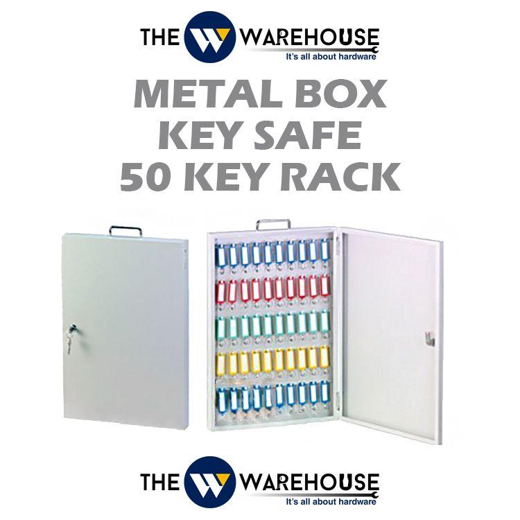 Metal Box Key Safe - 50 Key Rack
