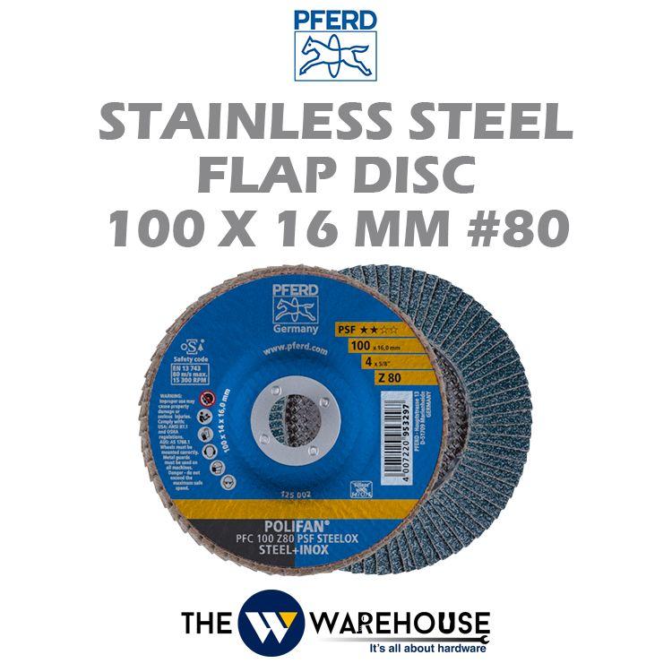 PFERD Stainless Steel Flap Disc 100mm #80
