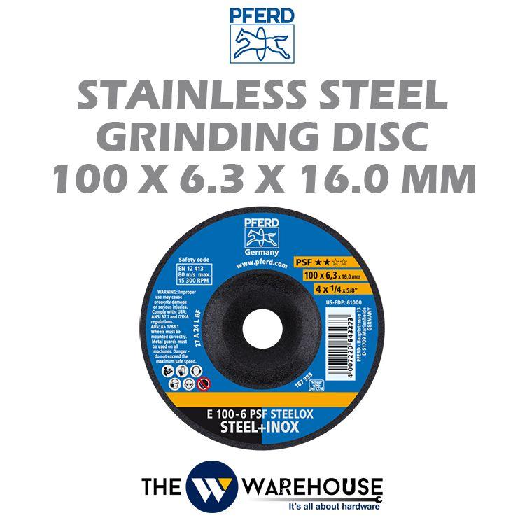 PFERD Stainless Steel Grinding Disc 100mm x 6.3mm