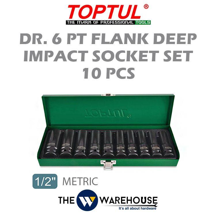 TOPTUL 10pcs 1-2inch Dr. 6PT Flank Deep Impact Socket Set (METRIC)