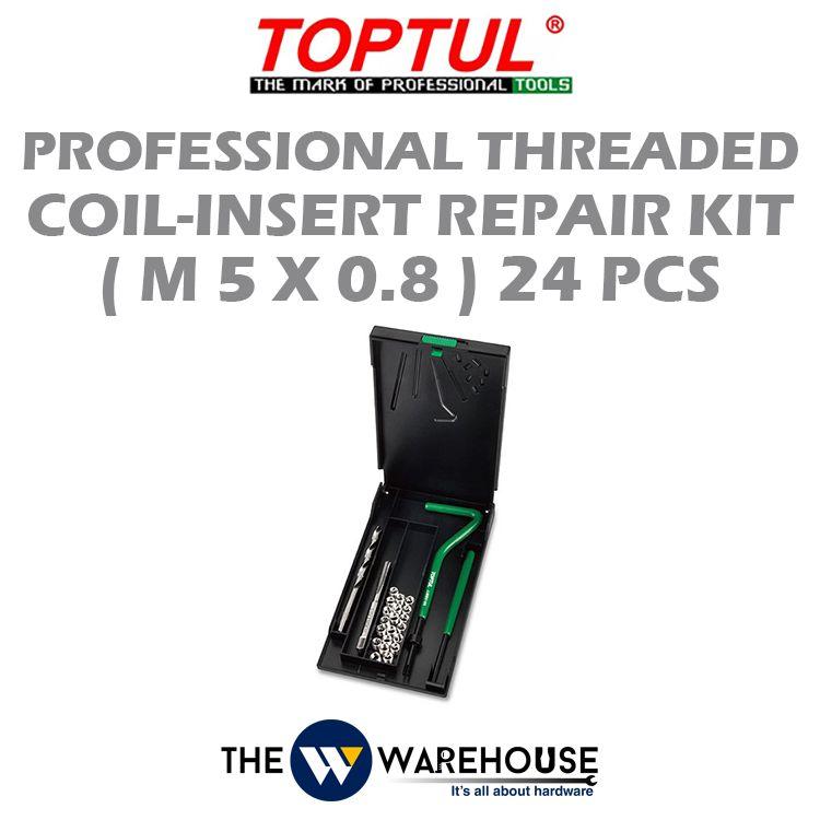 TOPTUL 24pcs Professional Threaded Coil-Insert Repair Kit (M5x0.8) JGEW2401