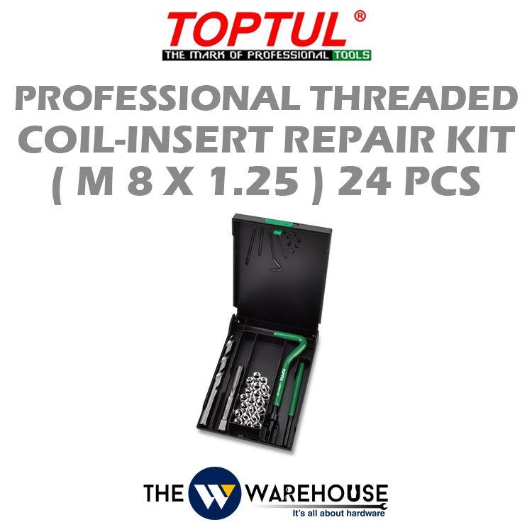 TOPTUL 24pcs Professional Threaded Coil-Insert Repair Kit (M8x1.25) JGEW2403