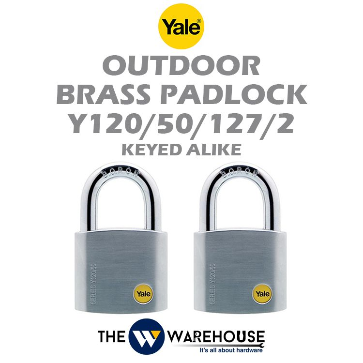 Yale Keyed Alike Outdoor Brass Padlock Y120/50/127/2
