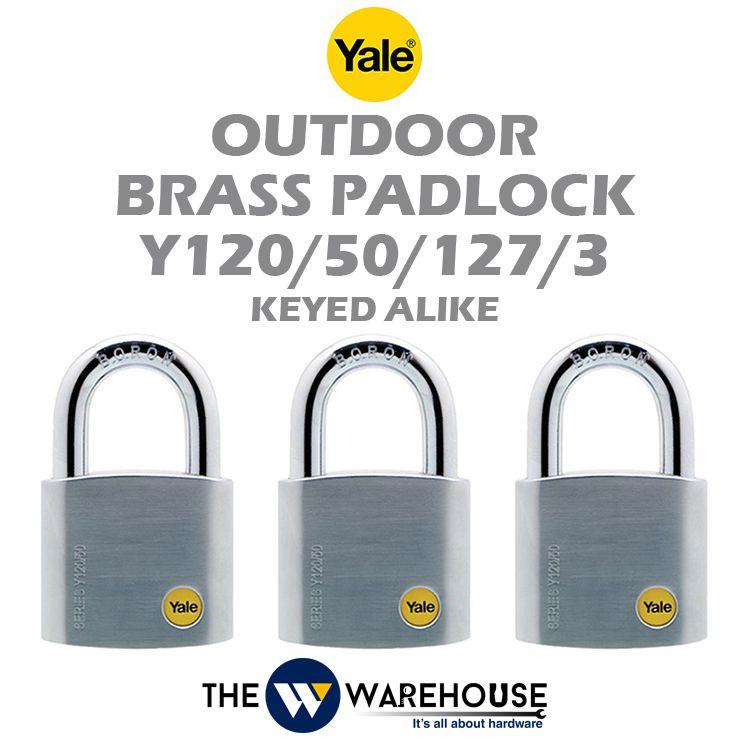 Yale Keyed Alike Outdoor Brass Padlock Y120/50/127/3