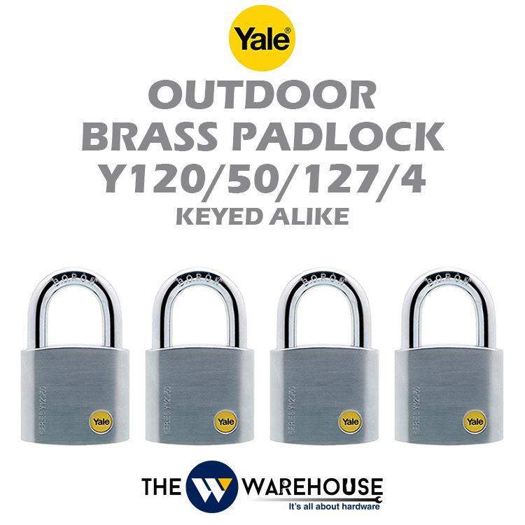 Yale Keyed Alike Outdoor Brass Padlock Y120/50/127/4